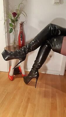 Neu Italy Crotch Overknee High Heel Plateau Stiletto Leder Gio Hel schwarz 40 online kaufen