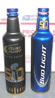 NFL 2016 SUPER BOWL 50 FOOTBALL SPORT BUD LIGHT ALUMINUM BEER BOTTLE EMPTY MINT