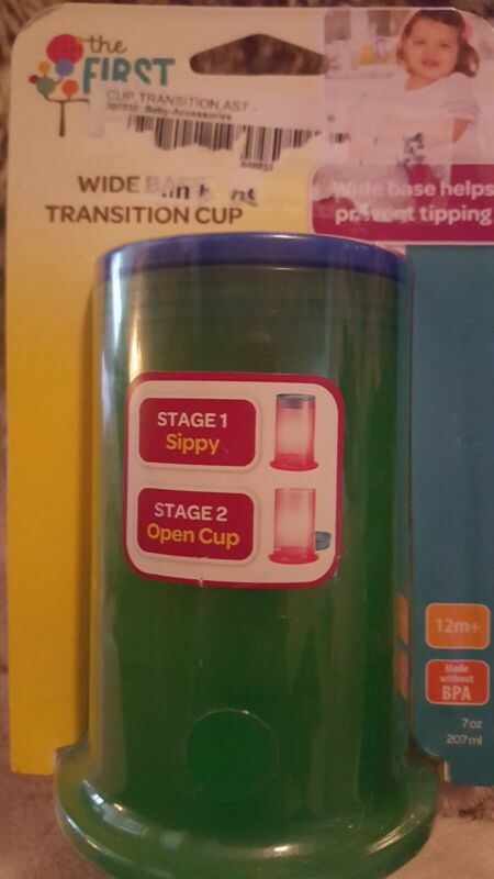 The First Years Wide Base Transition Cup 1 pk - GREEN NIB