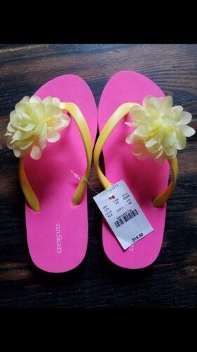 NWT Kids Crewcuts Sandals K12 Flip Flops 12 Flower Sweet Lem