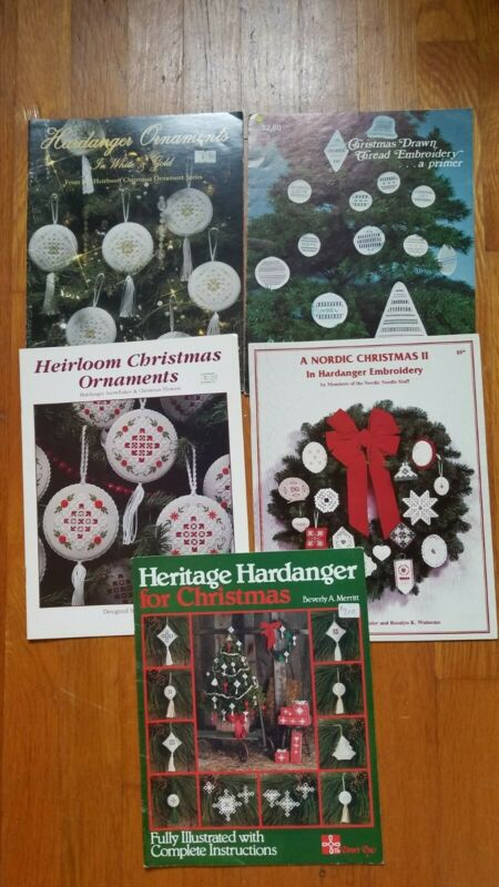Lot of 5 Hardanger Embroidery & Drawn Thread Christmas Ornament Pattern Books