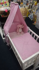 Gingham Pink Blue 3 Piece Swinging Crib Cradle Bedding