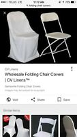 64 white folding chair covers