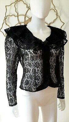 Vintage 80s 90s Victorian sheer lace dress jacket top gothic Steampunk ruffle L