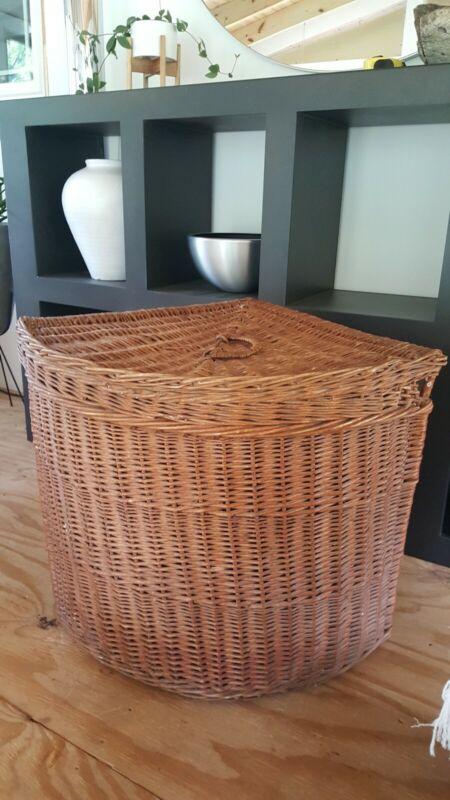 Antique European Wicker Laundry/Storage Corner Basket w/lid-  Large