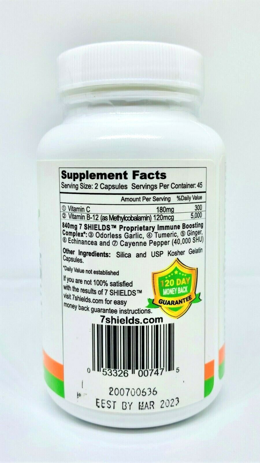 "7 SHIELDS ""Immune System Booster"" with ""Vitamin C"" and ""Ginger"" 90 Capsules 2"