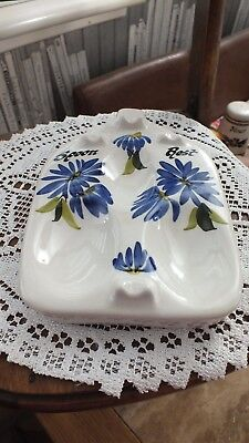 Vintage Retro Toni Raymond Studio Pottery c1950s -1970s 3 Spoon Rest Blue Flower