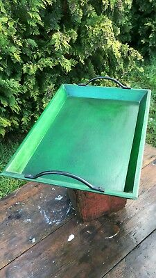 Great Vintage Retro Green Wooden Serving Tray With Metal Handles *