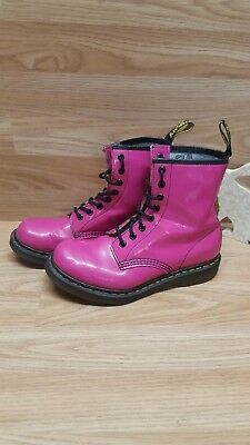 Dr Martens 1460 Hot Pink Patent 8 Eye Boots - Size 5 UK Autumn Look Cool Boots
