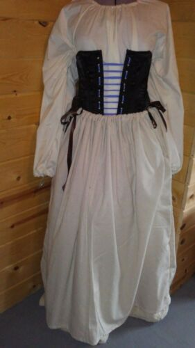 Osnaburg drawstring petticoat colonial skirt 18th century Rev War Williamsburg