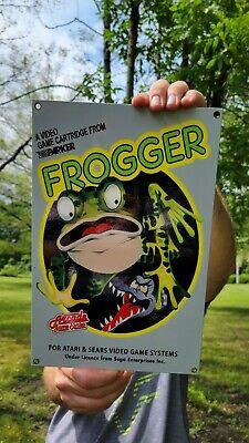 VINTAGE OLD FROGGER GAME CARTOON HEAVY ENAMEL METAL VIDEO GAMES ADVERTISING SIGN