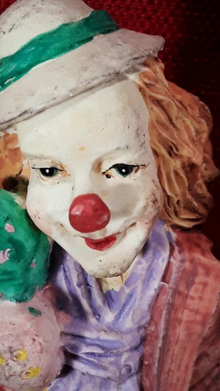 """Vintage Price His & Her Tall Hobo Clowns Resin Statue Clowns 11.5"""" figurines"""