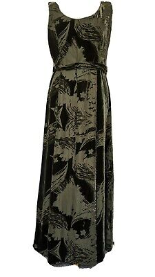 EAST Size 12 Long Silk Mix Green Sleeveless Velvet Feel Dress Tie Belted Lined