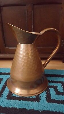 ANTIQUE VICTORIAN HAND HAMMERED COPPER FLAGON / PITCHER / JUG