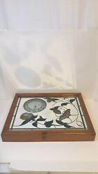 Europa International LTD Stained Glass Wood Frame Hanging Wall Clock