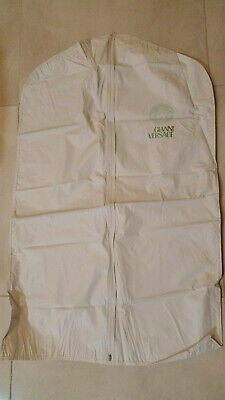 GIANNI VERSACE Garment Bag White VINYL ZIPPERED Coat Travel Storage 38'' X23''
