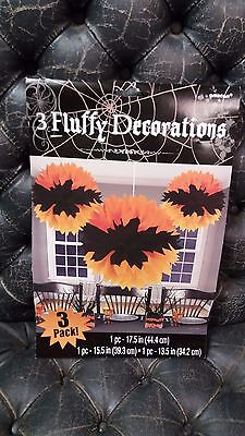 Halloween ORANGE & BLACK TISSUE PAPER PARTY HANGING DECORATIONS NEW LARGE  (Halloween Tissue Paper Decorations)