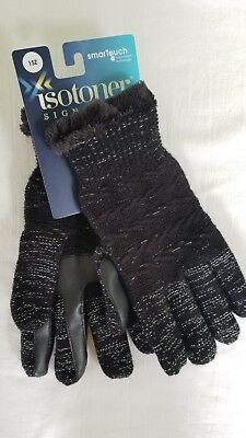 Isotoner Signature women's smartouch black metallic gloves one size