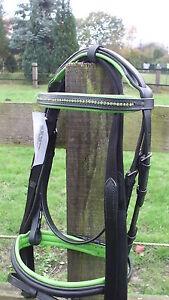 Schicke Trense aus Leder  Top Qualität Gr. Cob/Vollblut grün unterlegt