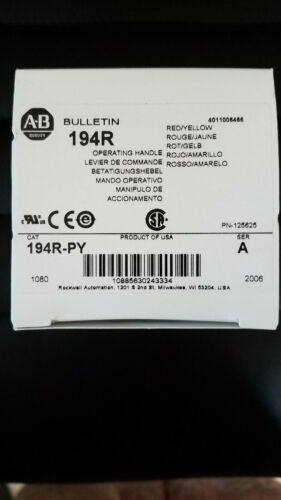 New Allen Bradley 194R-PY /A Red/Yellow Handle for Disconnect Switch Fast Ship!