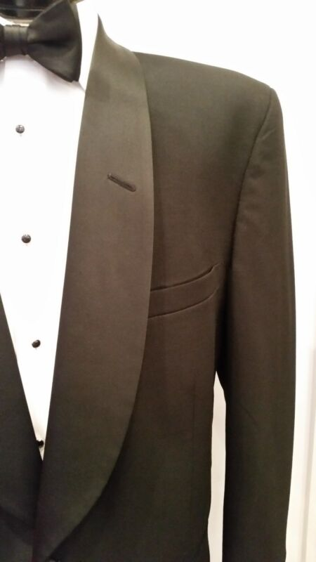 Mens Black Shawl Lapels Tuxedo Jacket (Perry Ellis 100% Wool, Cheap, Waiter)