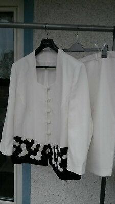 Damen 2 tlg`s Kostüm - Weiß mit Perlenstickerei - Pailletten - (2 Damen Kostüm)