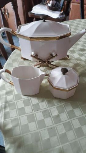 Vintage Pottery Tea Pot/Lid Cream Sugar/Lid Warming Stand