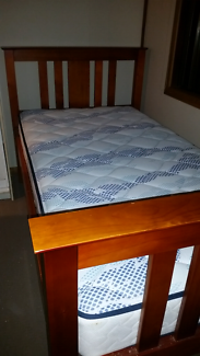 Solid pine king single bed & mattress