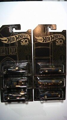 HOT WHEELS 2018  50 ANNIVERSARY 6 CARS SET BLACK / GOLD CARS NEW FREE SHIPPING