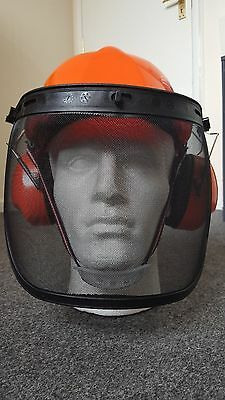 BRAND NEW CHAINSAW FORESTRY SAFETY HELMET & STEEL MESH VISOR FOR STIHL USERS