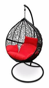 Brand New Hanging Egg Pod Chair - Black Basket with Red Cushions Tullamarine Hume Area Preview