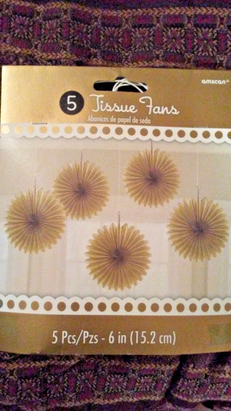 gold tissue fans 5 pc 6 inch