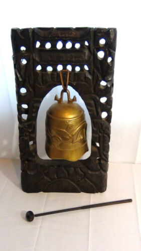 EARLY 20c CHINESE BRASS BUDDIST TEMPLE DRAGON BELL,GONG W/STRICKER