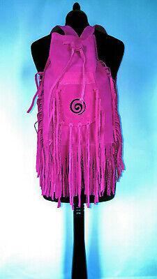 Leather suede tassle Rucksack Pink black spiral Bag festival boho  ()