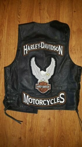 Authentic Harley Davidson Black Genuine Leather Vest Motorcycle Gear M BIG patch