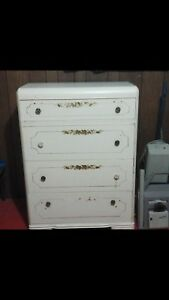 White chest of drawers. Solid wood.