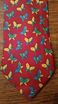 Paolo Gucci Red Silk Tie with Colorful Butterflies Print Vintage Mens Tie