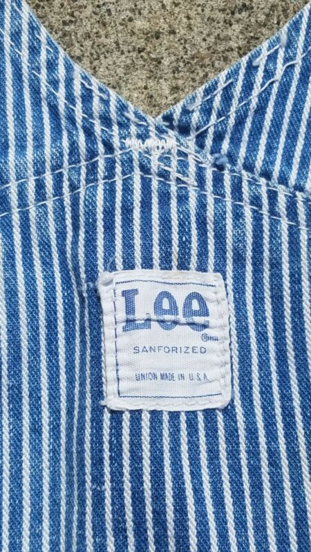 LEE Bib Overalls USA Sanforized Union Made 34 x 26 Button Fly Stripe Vtg