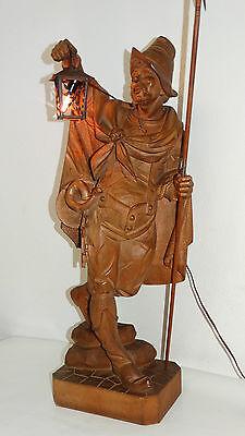 XXL Holzskulptur Holzfigur Nachtwächter mit Laterne Holz Skulptur Figur  82 cm
