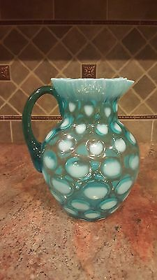 Fenton / Northwood Coin Dot Blue Opalescent Ruffled Edge Glass Water Pitcher