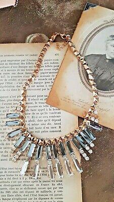Collier necklace ancien rétro bohème  chic vintage verre diamant