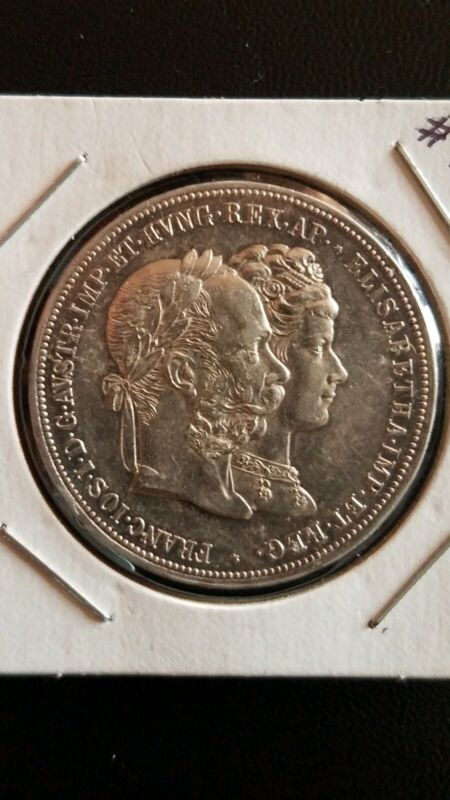 "1879 AUSTRIA HUNGARIAN  Silver Medal 2 Gulden ""25th WEDDING ANNIVERSARY"""