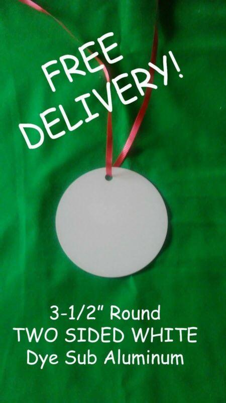 """3.5"""" ROUND- 2 SIDED ALUMINUM SUBLIMATION BLANKS - 50PCs Free Shipping"""