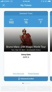 Bruno Mars - Tickets. Below cost. Sunday 23