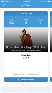 Bruno Mars - 6 tickets !! Sunday 23