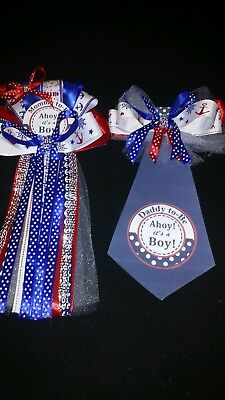 Baby Shower Sailor Theme (Nautical Sailor anchor Theme  baby shower corsage Mommy &  Daddy Tie To Be)