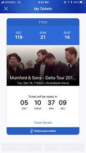 Ticket to Mumford and sons dec 18 toronto