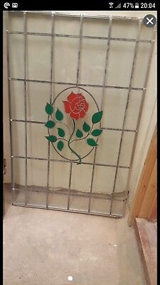 *** STAINED GLASS FROM DOUBLE GLAZED DOOR ROSE FLOWER PATTERNED ***