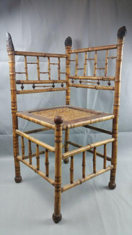 Fine Antique Aesthetic Movement Bamboo Corner Chair Burl Finials Ball Form Feet