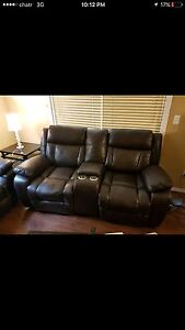 Leather recliner sofa and love seat